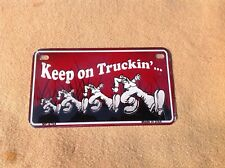 """*Motorcycle* 4"""" x 7""""  Keep on Truckin License Plate"""