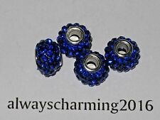 BIG HOLE SAPPHIRE RHINESTONE RESIN RONDELLE SPACER BEAD FOR JEWELRY