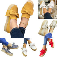 Womens Bow Platform Slip On Pumps Loafers Ladies Casual Espadrilles Shoes Size