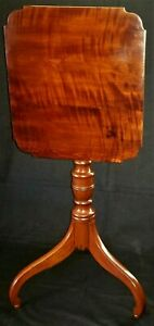 "Tilttop Table, Candlestand, Sheraton, curly cherry, New England, c1830, 15""w"