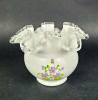 Vintage Fenton Silver Crest Rose Bowl Vase Painted Violets in the Snow Signed