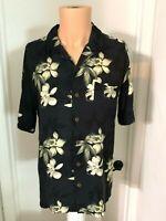 Caribbean Joe Mens l large Hawaiian Shirt  Rayon Floral Short Sleeves Button