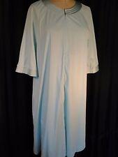 Vintage aqua Duster robe 70's Disco M Ward nylon Sissy pinup L short 3/4 slv Zip