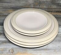 "VTG '01 Pfaltzgraff ""Cappuccino"" Salad Dinner Pottery Plate Tan Cream Lot 5"