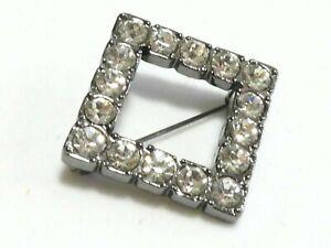 PRETTY Small Gunmetal Grey Square & Clear Bright Sparkly Crystal Stone BROOCH