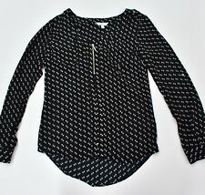 CANDIE'S Women's Top Blouse Size XS Black Long Sleeves 1/2 Zip Buttons Front