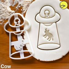 UFO Cow Abduction cookie cutter | Extraterrestrial halloween party grey alien