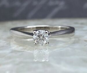 18CT WHITE GOLD DIAMOND SOLITAIRE RING SIZE N ENGAGEMENT APRIL BIRTHSTONE