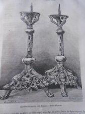 Chandeliers du 12ème Siècle Gravure Old Print 1872