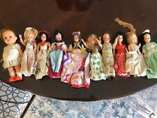 8 vintage hard plastic doll lot Plus 1 Wood And 1 Rubber Doll From Japan.
