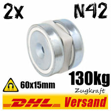 2x Neodym Topfmagnet D60x15mm 130kg N42 mit Loch Powermagnet Hochleistungsmagnet