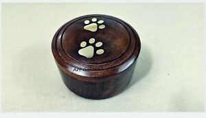 Wooden Brass Paws Pet Urn, Cremation Urn for Ashes Small Urns For Cats and Dogs