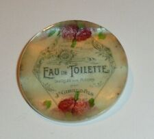 "Eau De Toilette Bottle w/ Flowers MOP Button Mother of Pearl Shank Button 1+3/8"""