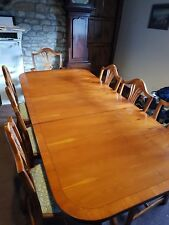 7ft dinning table with 8 seats William Morris fabric