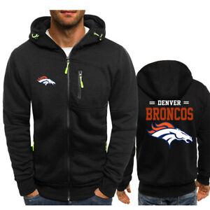 Denver Broncos Fan Hoodie Football Hooded Sweatshirt Fleece Coat Full-Zip Jacket