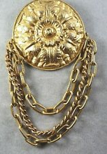 VINTAGE VICTORIAN STYLE REPOUSSE  GOLD TONE  LARGE  PIN BROOCH WITH DANGLE CHAIN