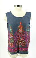 Entro Women's Medium Chambray Embroidered Tie Back Fringe Tassel Tank Top Shirt