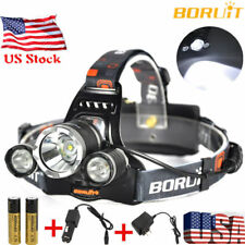 BORUiT 14000LM Headlamp XM-L 3x T6 LED Headlight 18650 Battery Light Charger USA