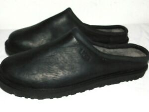 NWOB MENS SIZE 17 BLACK UGG CLASSIC CLOG LEATHER SLIPPERS SHOES LOAFERS 1011413
