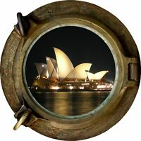 Huge 3D Porthole Sydney Opera House View Wall Stickers Mural Decal 306