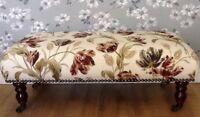 Footstool Stool In Laura Ashley Gosford Paprika Fabric