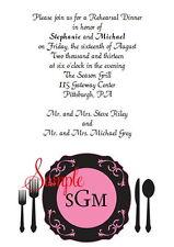 20 Personalized Custom Rehearsal Dinner Bridal Wedding Invitations