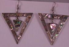 Vintage 1970s Mexico Alpaca Abalone Large Triangle Pierced Earrings