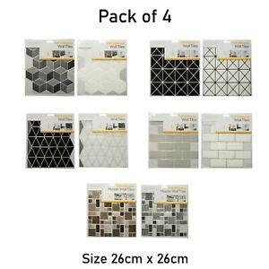 4Pack Self Adhesive Patterned Wall Tiles Hexagon,Diamond,Giltter Mosaic,Brick