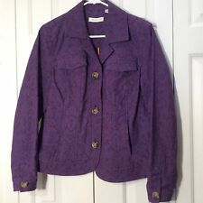 NWOT Coldwater Creek Purple Textured Embroidered Buttoned Women Jacket Size 12