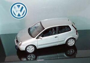 RARE VW POLO 9N IV 2002 SPORT TDI FSI REFLEX SILVER 1:43 AUTOART (DEALER MODEL)