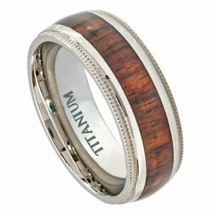 Men's 8mm Titanium Band Ring Domed Milgrain Edge Hawaiian Koa Inlay