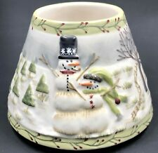 """Yankee Candle Snowmen Small Ceramic Shade Winter Scene For Jar Candle 4"""""""
