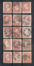 USA 1861-67, 3C. WASHINGTON, 15 stamps some varieties, color pink, etc