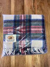 More details for vintage wool travel rug dress stewart tartan  blanket edinburgh woollen mill