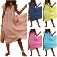 S-3XL Women Cotton Maxi Dress V-Neck Casual Loose Fit Big Hemline Sundress Hot B