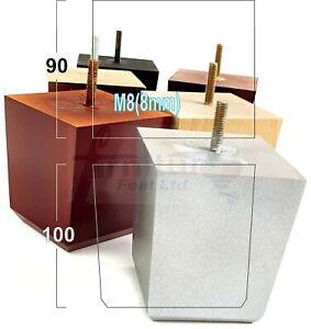 4x BLOCK WOOD SOFA LEGS 100mm High CHAIR FURNITURE REPLACEMENT FEET M8(8mm)