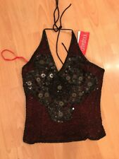 NEW LADIES AFTERSHOCK SEQUINNED BODICE CORSET LACE UP TOP MEDIUM  BUSTIER HOLIDA