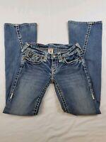 True Religion Joey Super T Jeans Womens 26 X 32 Blue Distress White Stitch Long