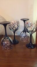 Set OF 4 Hand Painted Wine Glass Cherry Blossom Dishwasher Save in Top Rack Gift