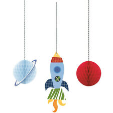 3 Outer Space Hanging Decorations Boys Birthday Party Decor Blue Rocket Planets