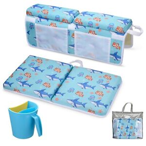 JNS Baby Bath Kneeler with a Rinse Cup - Thick Tub Kneeling Pad with Toy Storage
