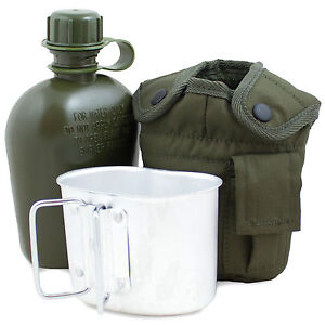 WATER BOTTLE, MUG & POUCH SET Canteen Camping Hiking Army Military Olive Green