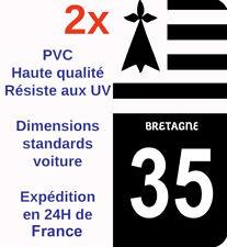 Sticker Autocollant immatriculation Département 35 Ille-et-Vilaine Bretagne Noir