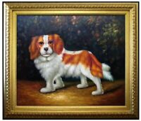 Framed Quality Hand Painted Oil Painting, Cute Golden Hair Puppy, 20x24in