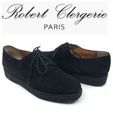 Robert Clergerie Womens Lace Up Platform Oxfords Size 6 Black Leather Suede