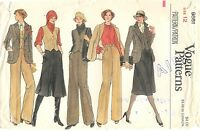 1970's Vogue Sewing Pattern # 9661 Misses Jacket Vest Pants Culottes Skirt Sz 12