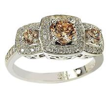 Suzy Levian Sterling Silver Cubic Zirconia Brown Three Stones Halo Engagement Ri