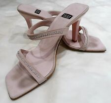* En muy buena condición siguiente Bebé Rosa Diamante Gamuza Con Tiras Tacón Alto Zapatos Sandalias Peep 8 42 *