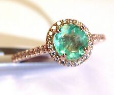 14K Rose Gold 1.25CT Colombian Emerald .28CT VS Diamond  Halo Ring Size 7.75