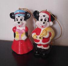 Vintage Disney Mickey Santa & Minnie Mouse Ceramic Christmas Ornaments JAPAN